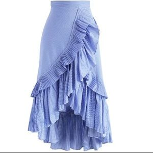 Blue Ruffle Asymmetrical Skirt